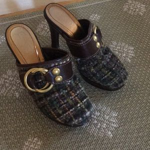 Coach leather brass and tweed clogs size 7